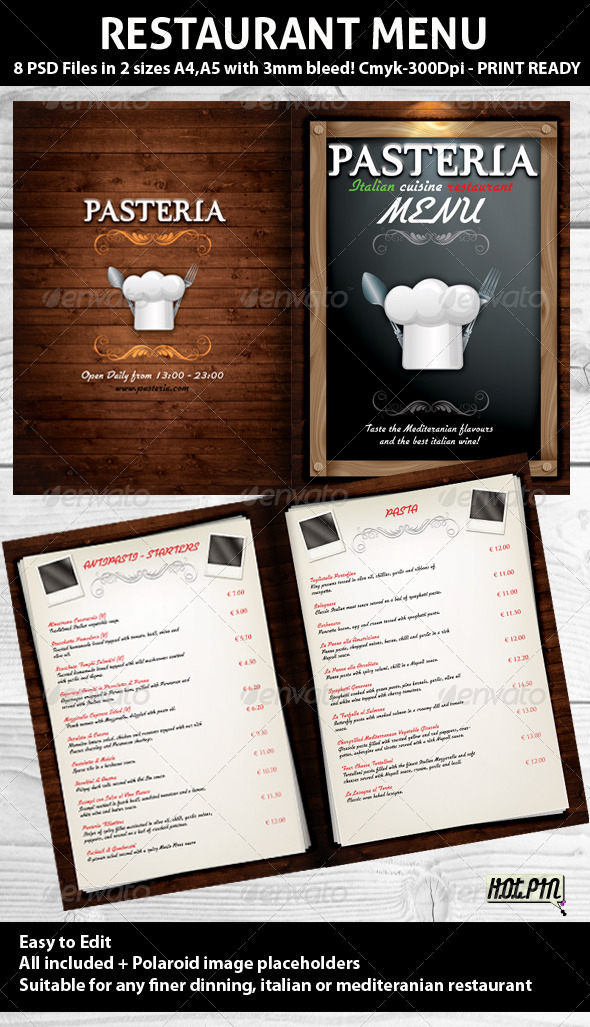 13 Italian Menu Templates PSD Files Images