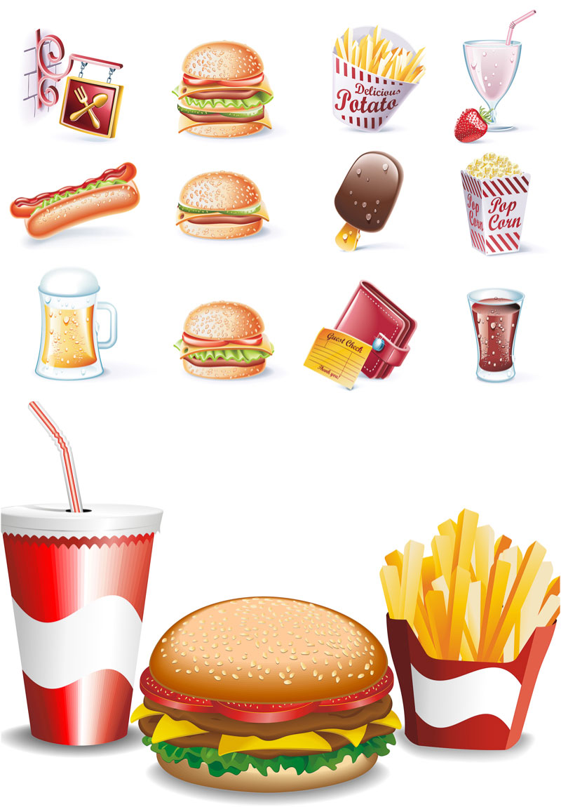 13 Fast Food Vector Icons Images