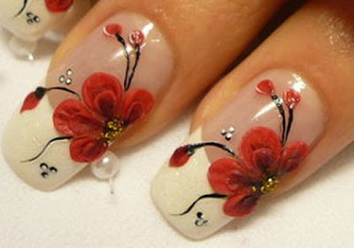French Manicure Nail Designs with Flowers