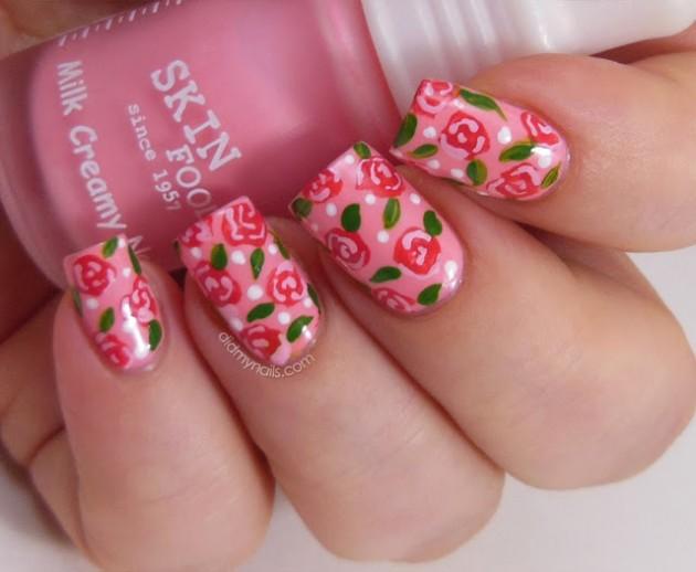 Gel Nail Flower Design