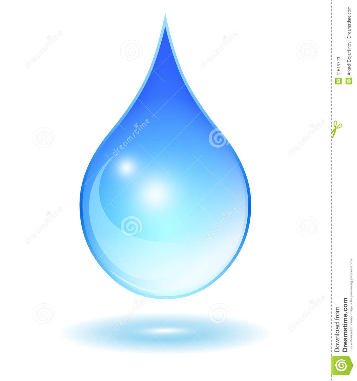 Glass Water Drop Vector Clip Art