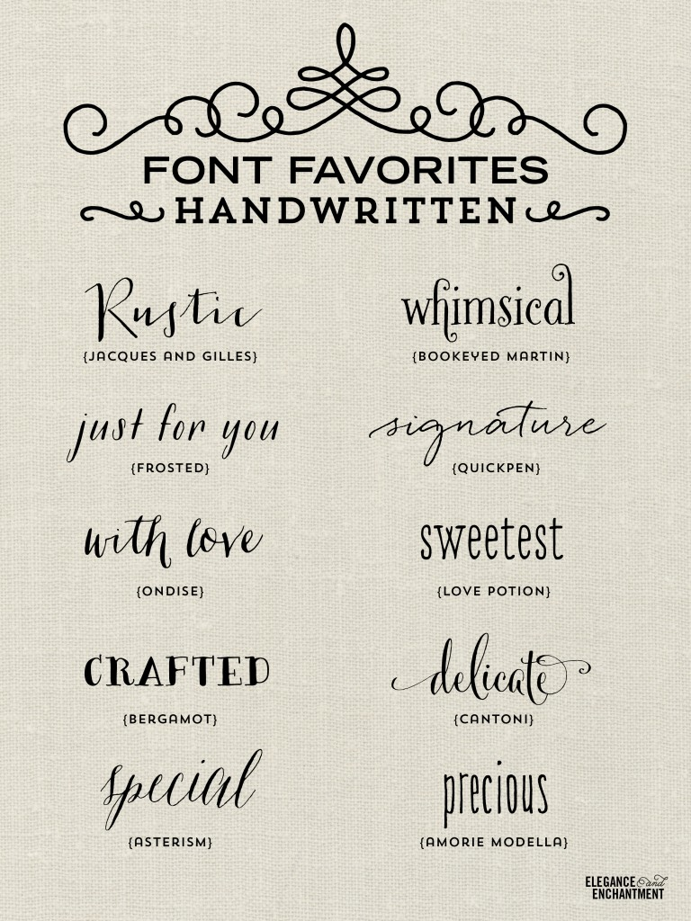 Handwritten Font Favorites