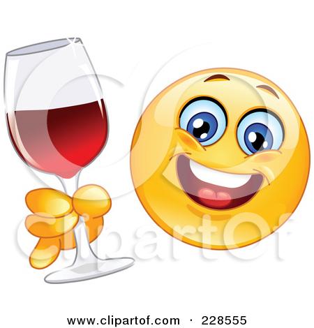 Happy Face Drinking Wine