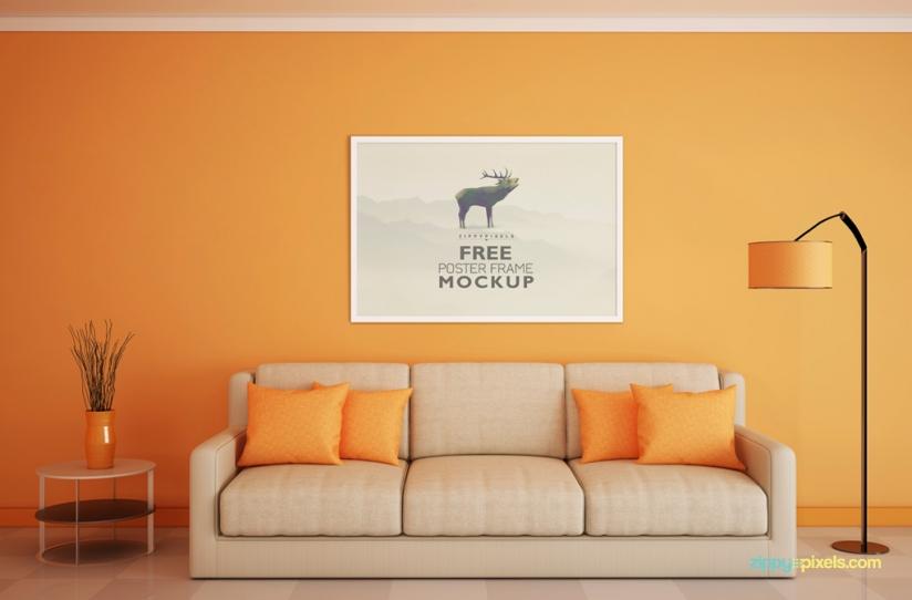 11 Room Mockups PSDs Poster Images