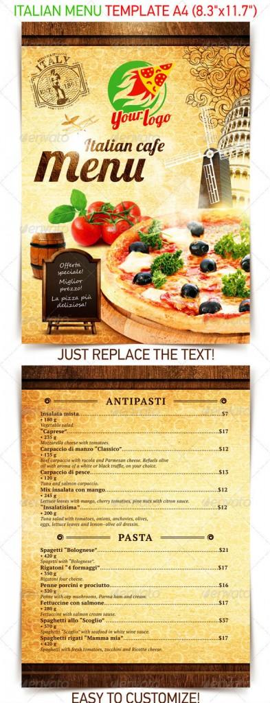 Italian Restaurant Menu Layout : Italian menu templates psd files images free