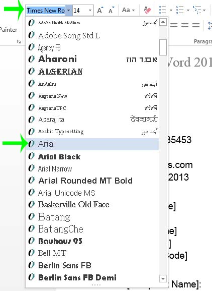9 Word 2013 Fonts Images How To Change Fonts In Word