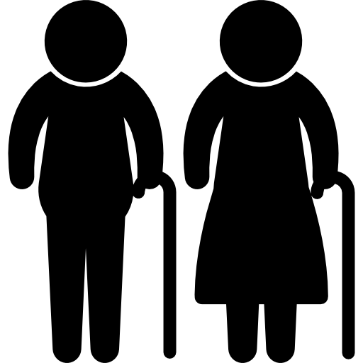Old Couple with Cane Silhouette