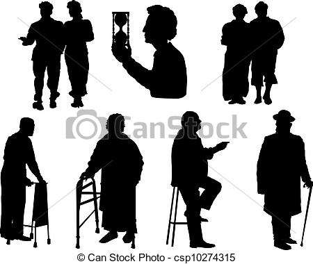 Old People Silhouette Clip Art