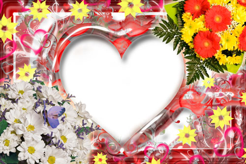 8 Heart Frame Photoshop PSD Images