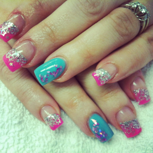9 Blue And Pink Acrylic Nail Designs Images