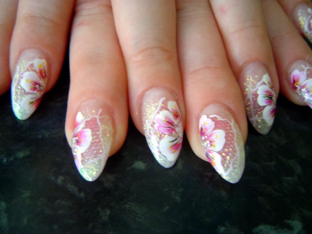 Pink Flowers Nail Art Design