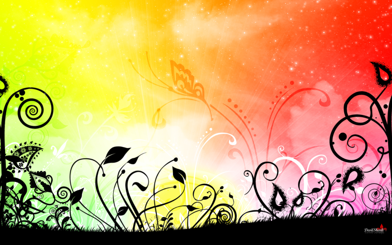 Pretty Rainbow Flower Desktop Wallpaper