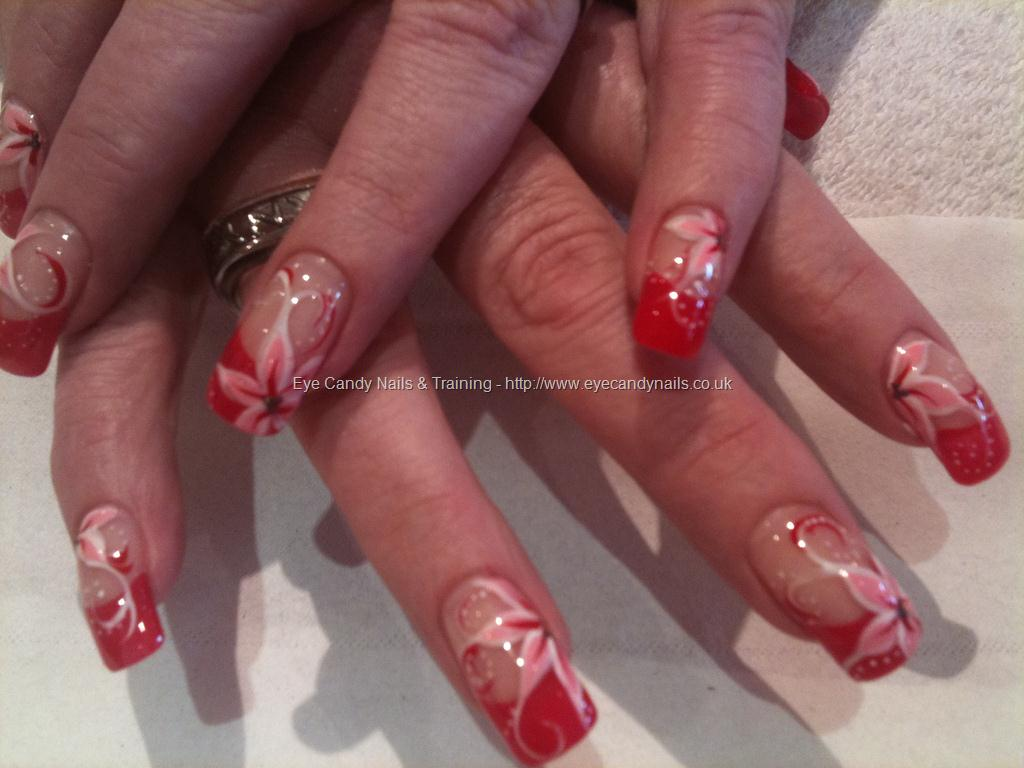 Red and Pink Flower Nail Art