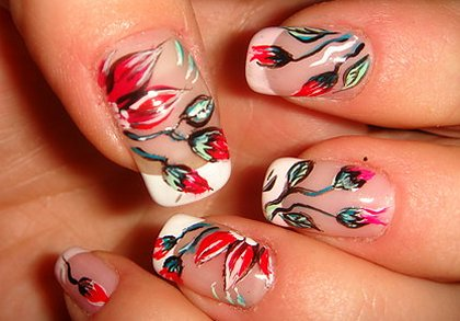 Red Nail Art Ideas Flowers