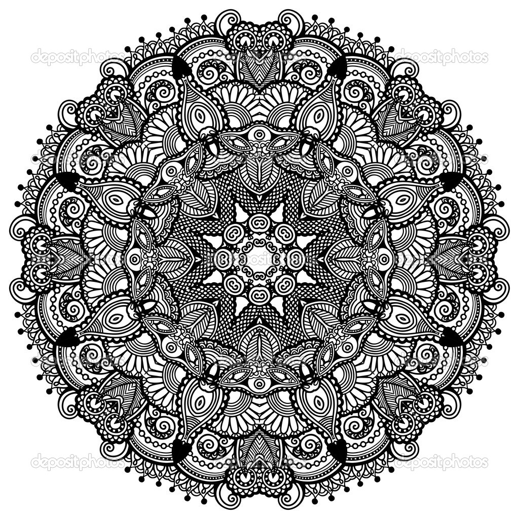 Round Black and White Geometric Patterns