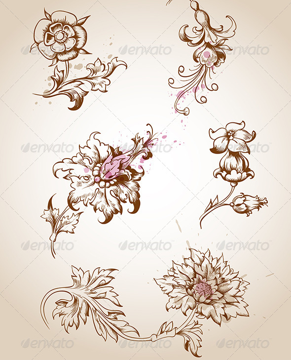 16 Victorian Flower Vector Images Victorian Flowers and