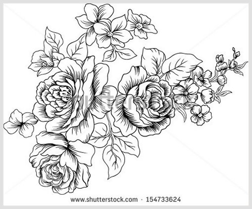Black And White Vintage Flowers 90