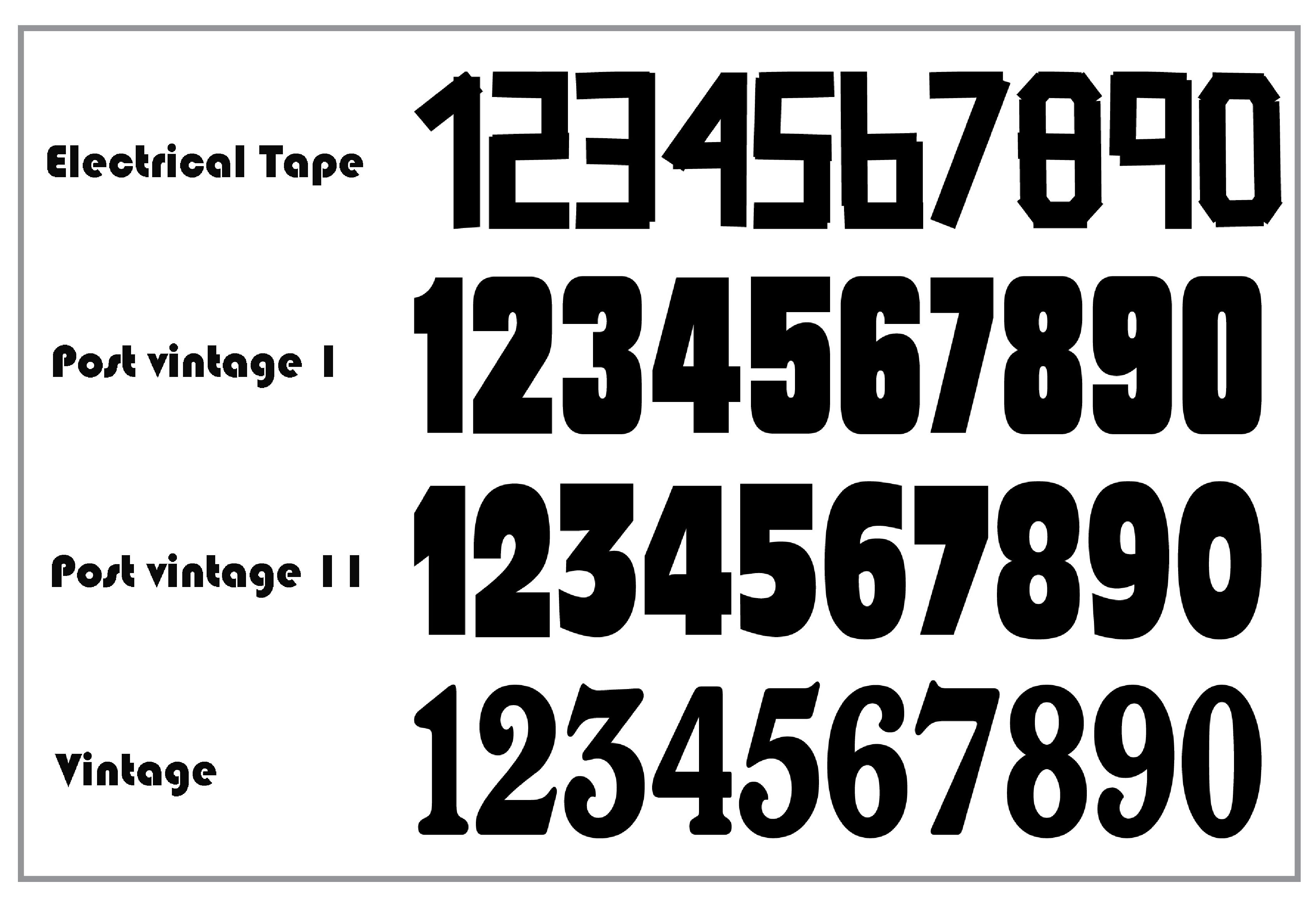 Vintage racing number fonts