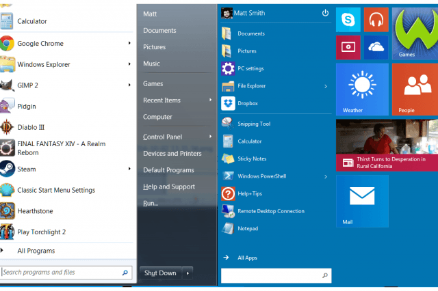 Windows 7 Start vs Windows 10