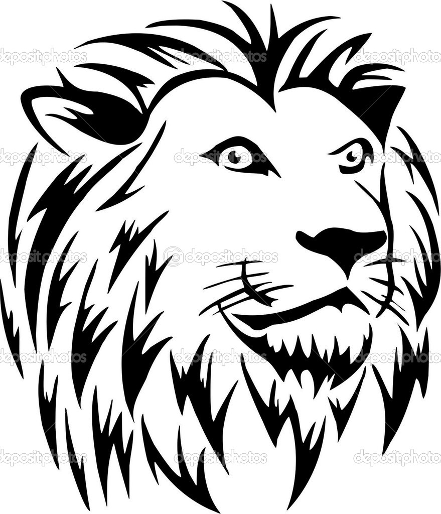 Line Drawing Vector Graphics : Lion line drawing vector images face