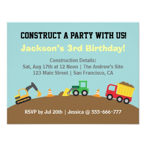 Construction Vehicles Birthday Theme Invitations