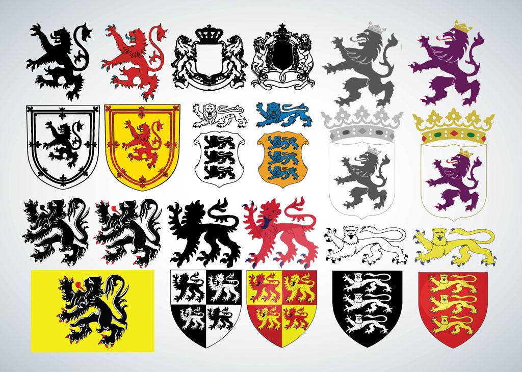 14 Heraldic Lion Vector Art Images