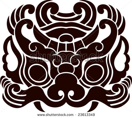 12 Chinese Lion Head Vector Images