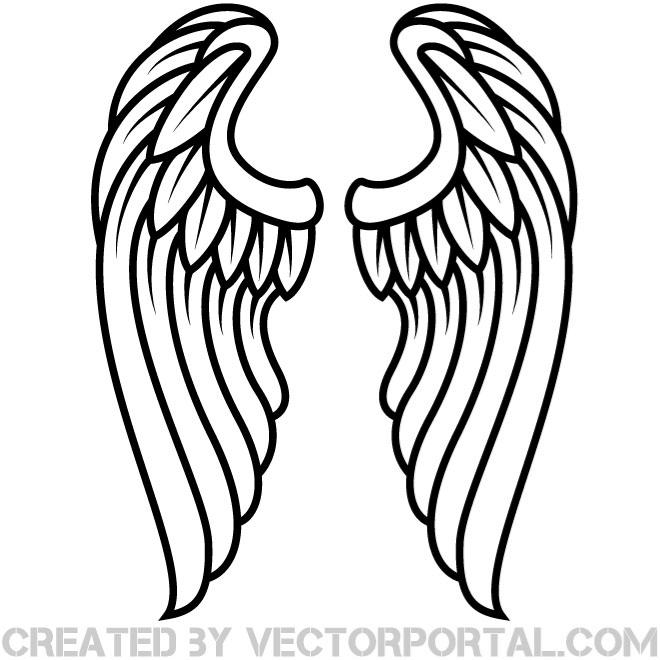 15 Black Angel Wings Vector Art Images