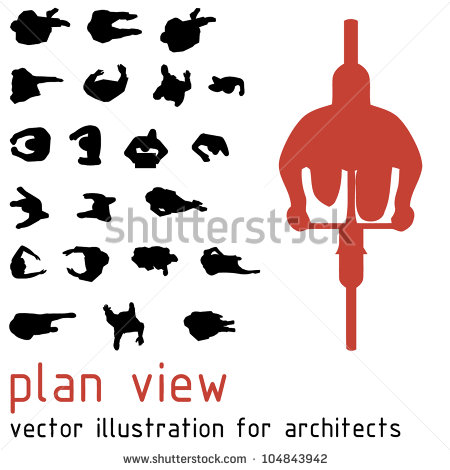 Architectural People Silhouettes Plan View
