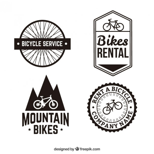 12 Bicycle Free Vector Badge Images