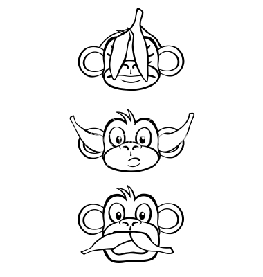 10 Black And White Vector Monkey Images