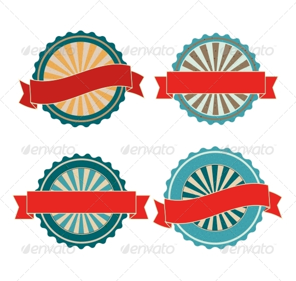 14 Blank Retro Vintage Badges Vector Images