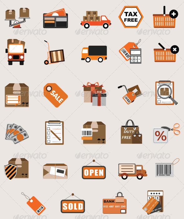 10 Flat Shopping Icon Vector Packs Images