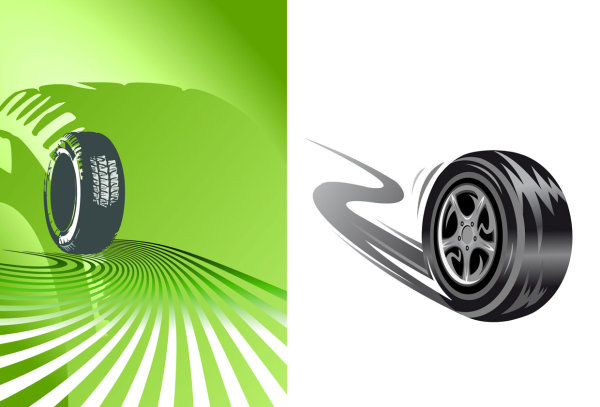 15 Tires Spinning Vector Images