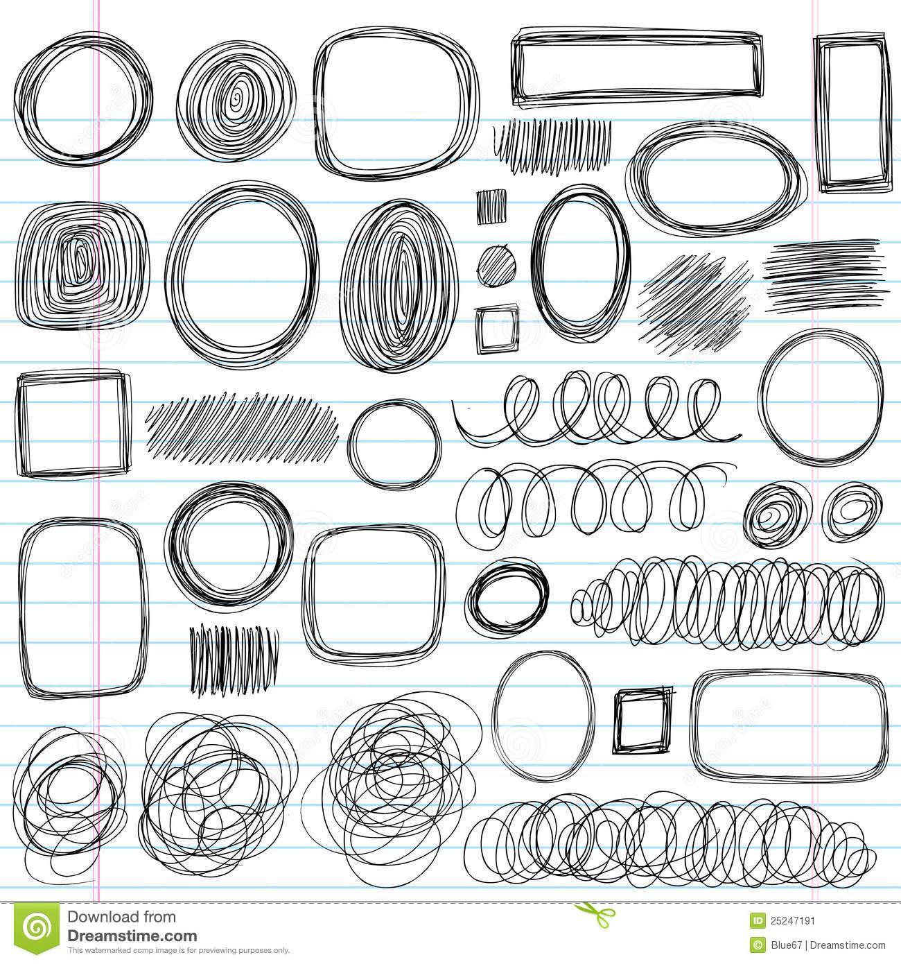 Doodle Sketchy Swirls Vector Set