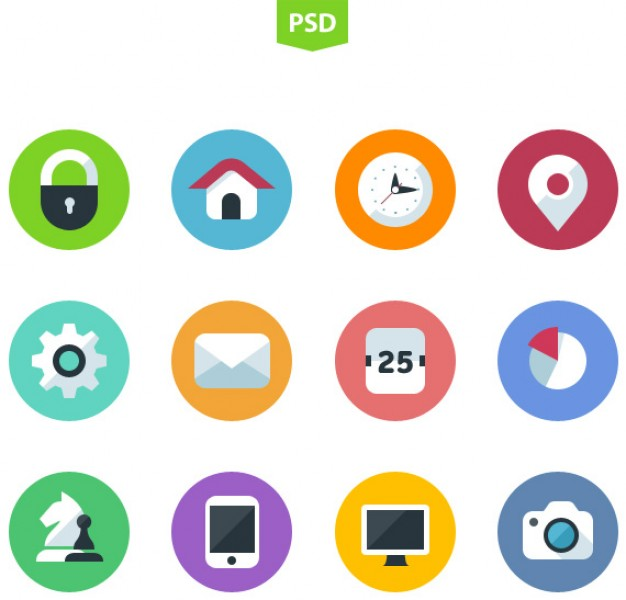 10 Flat Icons PSD Vector Images