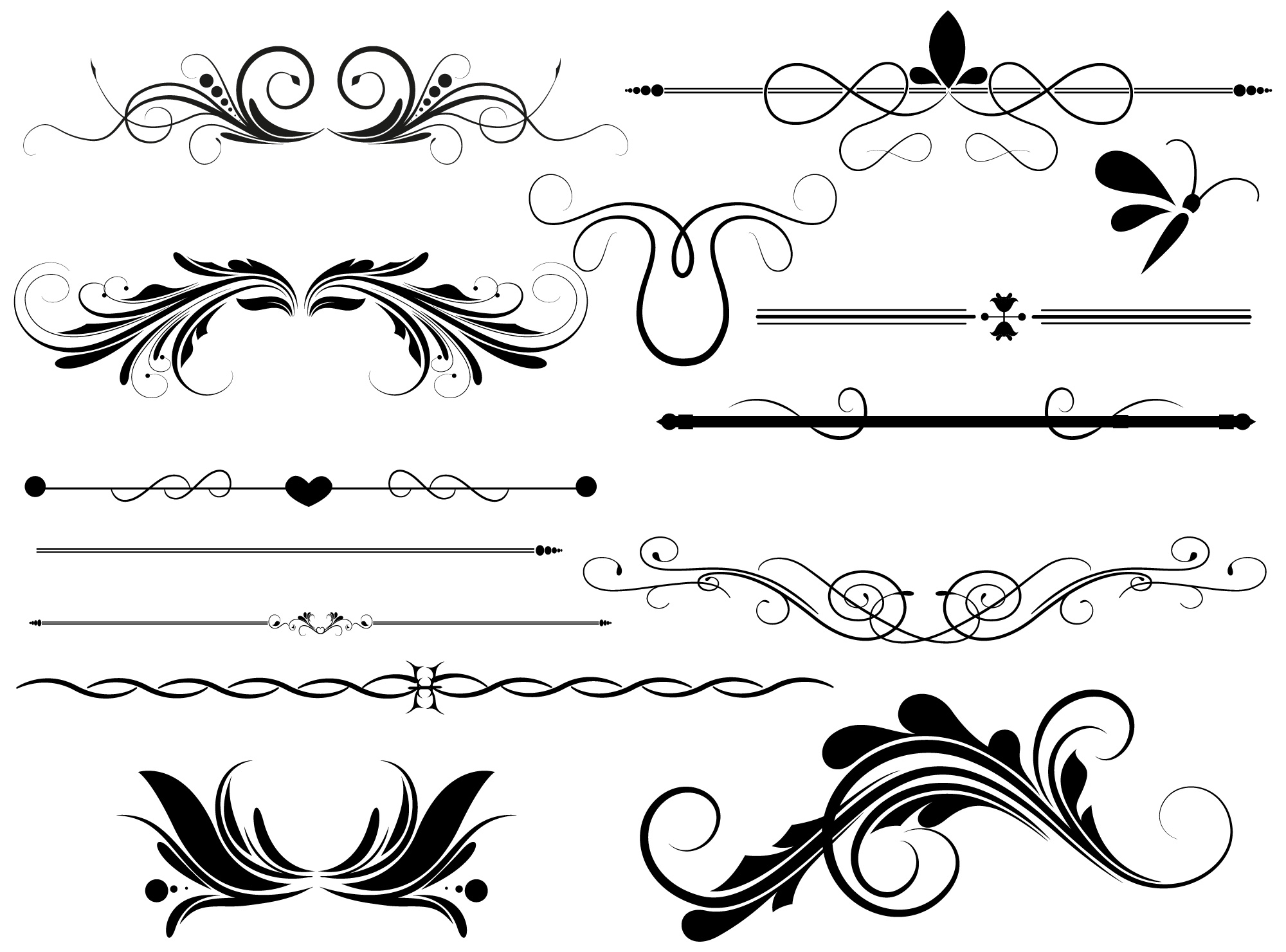 Line Art Border Design : Vintage line vector images ornaments