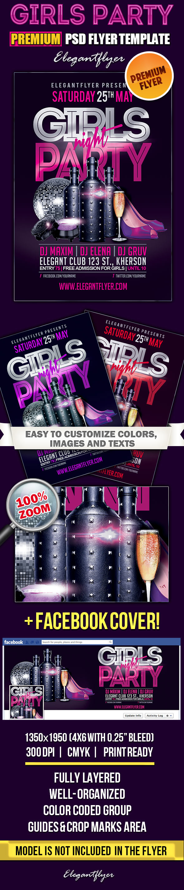 Girls Night Party Flyer Template