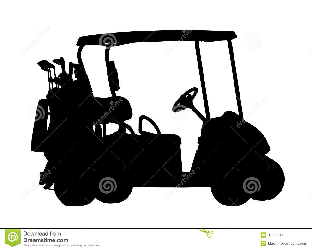 15 Golf Cart Vector Silhouette Images