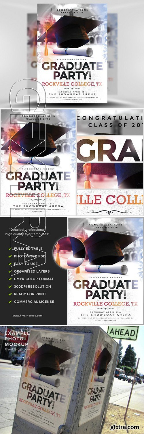 Graduation Party Flyer Template Photoshop PSD
