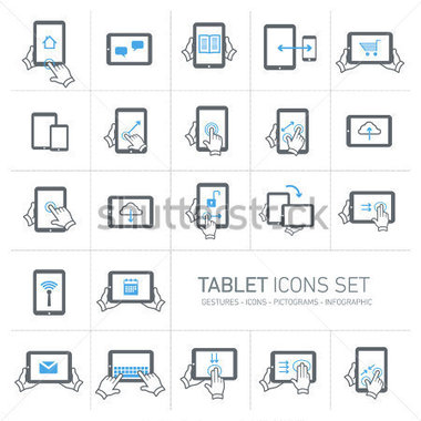 Gray and White Tablet Icons