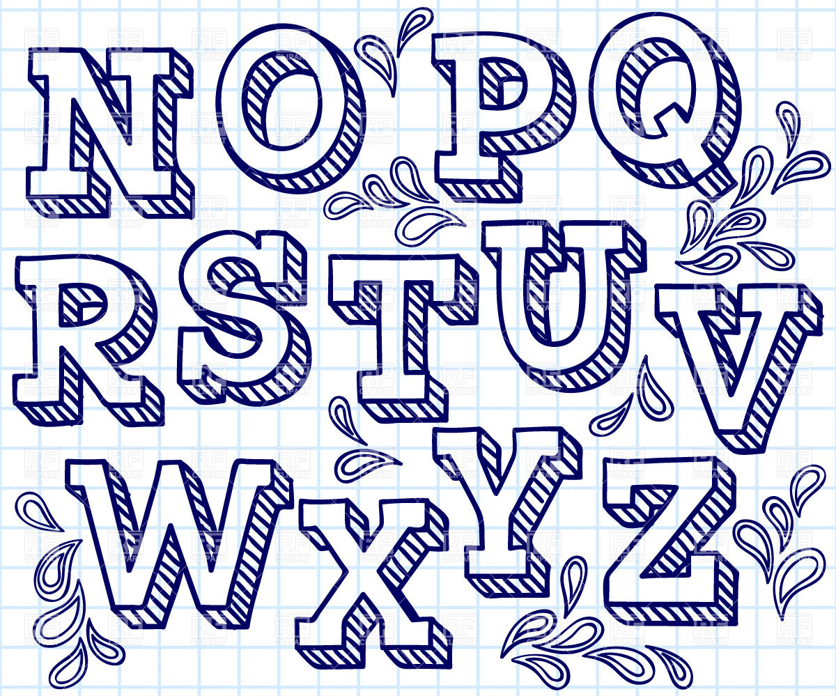 Hand Drawn Shaded Letters Font