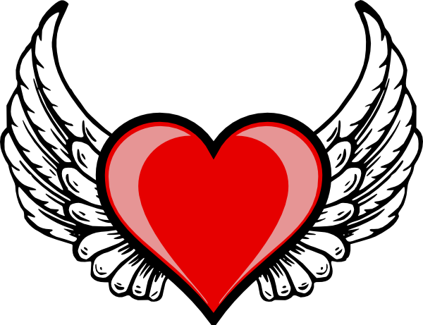12 Heart Angel Wings Vector Images