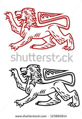 Heraldic Lion Silhouette Clip Art
