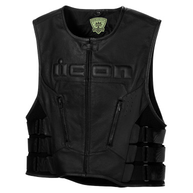 Icon Leather Vest Motorcycle