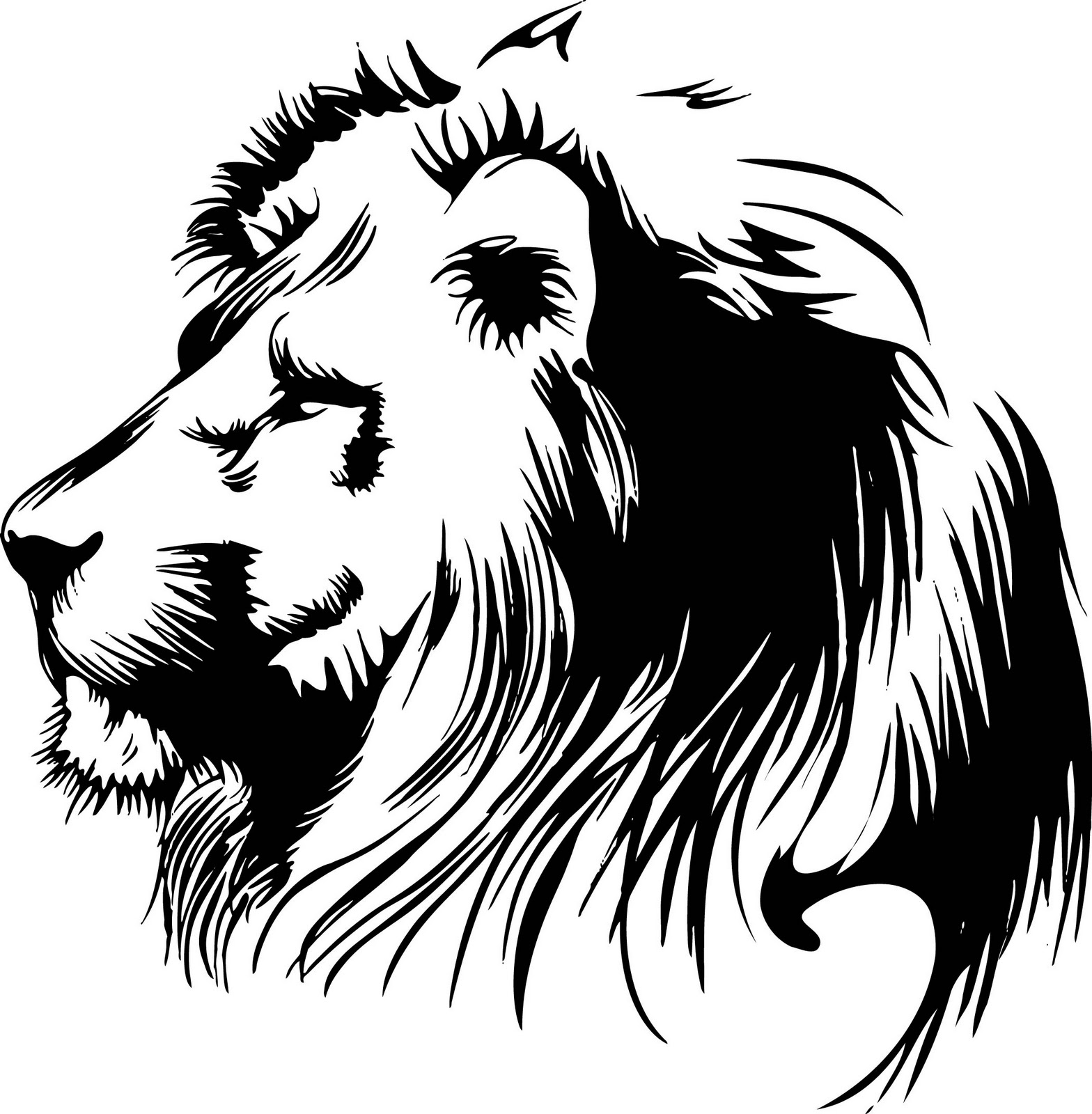Lion head roar silhouette