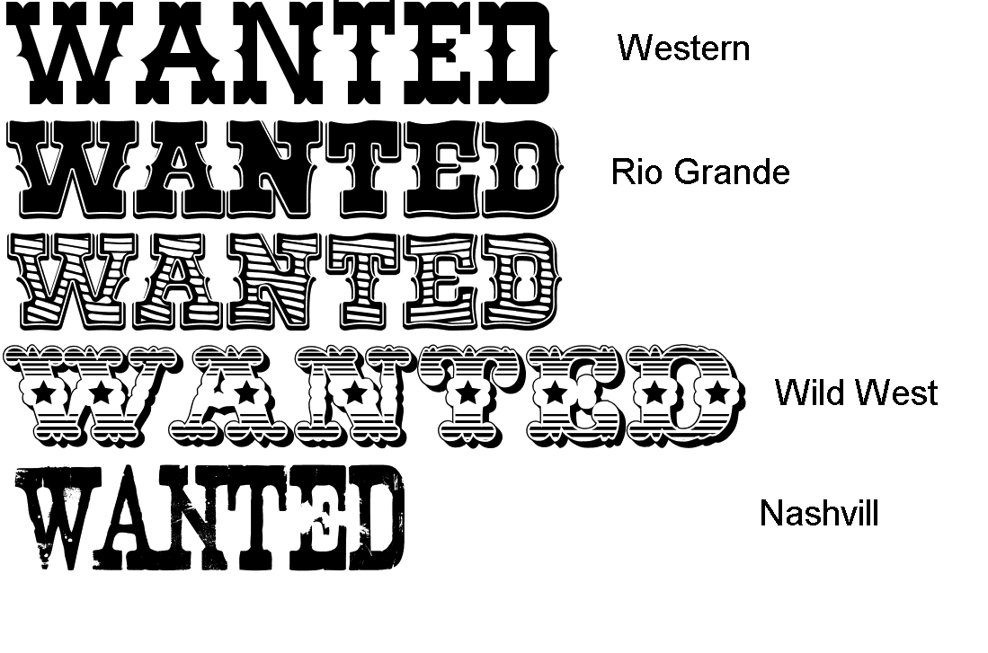Old West Fonts Wanted Sign