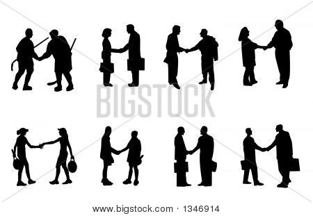 12 People Shaking Hands Vector Images