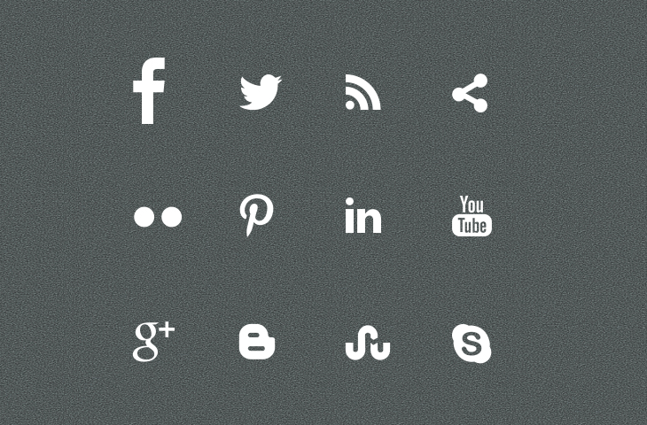 14 White Social Media Icons Vector Images