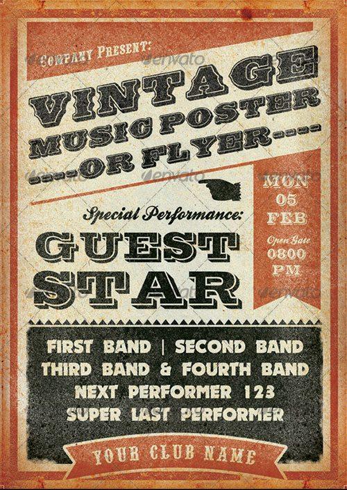 15 Old Poster Photoshop Templates Images Vintage Concert
